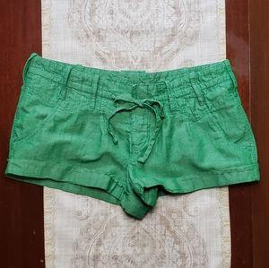 GUESS JEANS Green Linen Cuffed Shorts